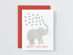 Elephant Spouting Confetti Birthday Card