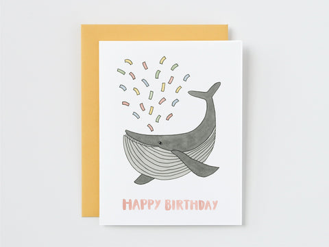 Whale Spouting Confetti Birthday Card