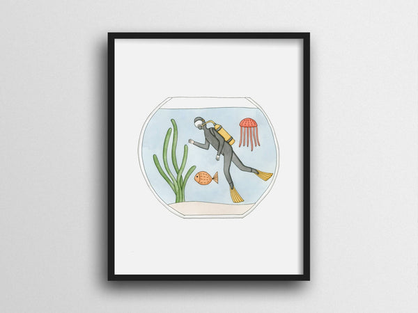 Scuba Diving in a Fish Bowl Giclee Print