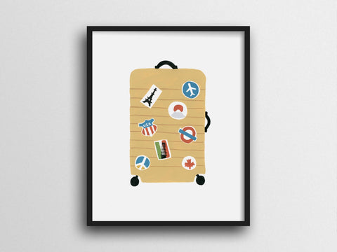 Well Traveled Suitcase Giclee Print