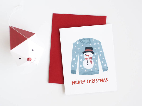 Snowman Christmas Sweater Card