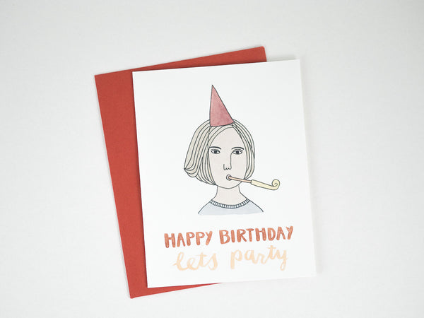 Girl with Party Blower Birthday Card