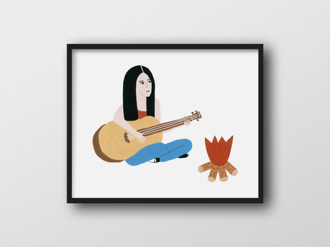 Playing Guitar By The Campfire Giclee Print