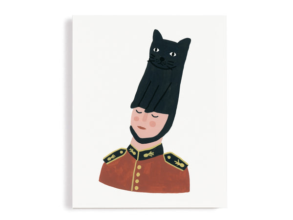 Queen's Guard in Cat Hat Giclee Print
