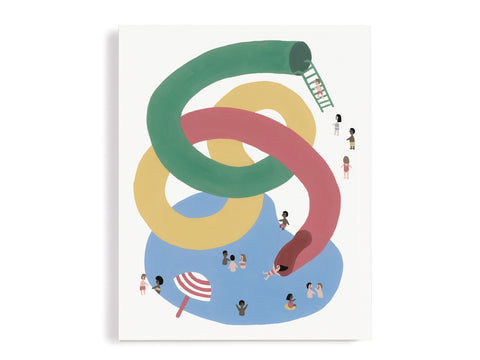 Waterslide Summer Fun Giclee Print