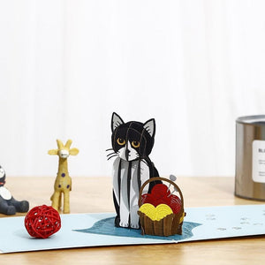 Knitting Kitty 3D pop-up card