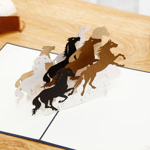 Galloping Horses 3D pop-up card