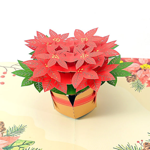 Liif Poinsettia Pop Up Card