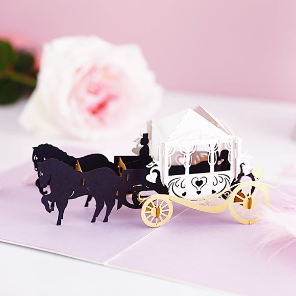 Liif Magic Carriage Wedding 3D Greeting Pop Up Card anniversary congratulations couple