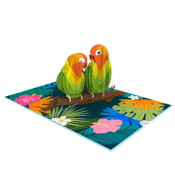 liif lovebirds bird pop up card