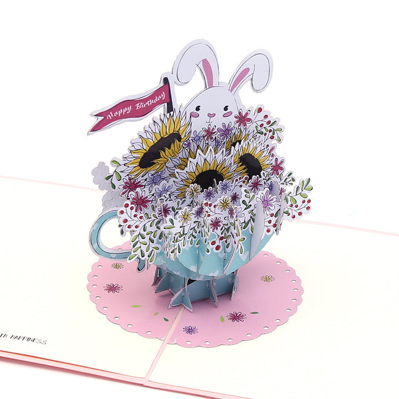 Teacup Bunny Happy Birthday Pop Up Card
