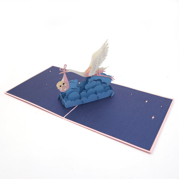 Baby & Stork 3D pop up card
