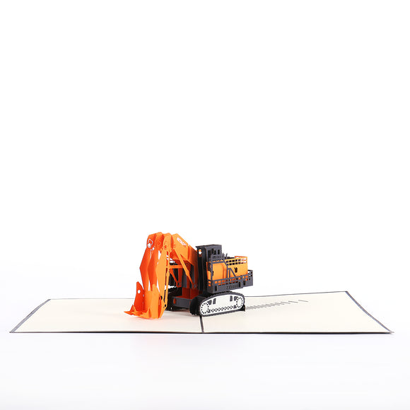Orange Excavator Pop-up Card