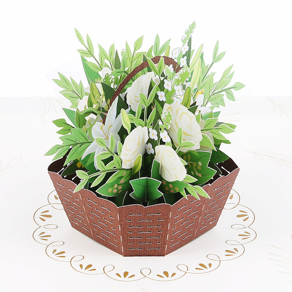 liif sympathy basket flower 3d greeting pop up card condolence loss of mother father grandma grandpa friend cat dog mom