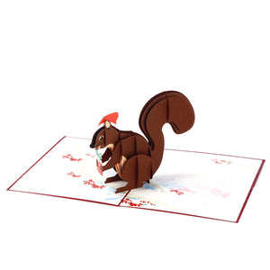 Festive Squirrel 3D pop-up card