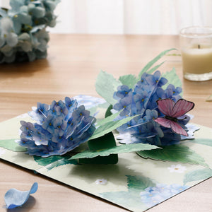 liif lovepop gift handmade popup hydrangea blue pop up card 3d greeting birthday mother's day get well flower rose greenhouse