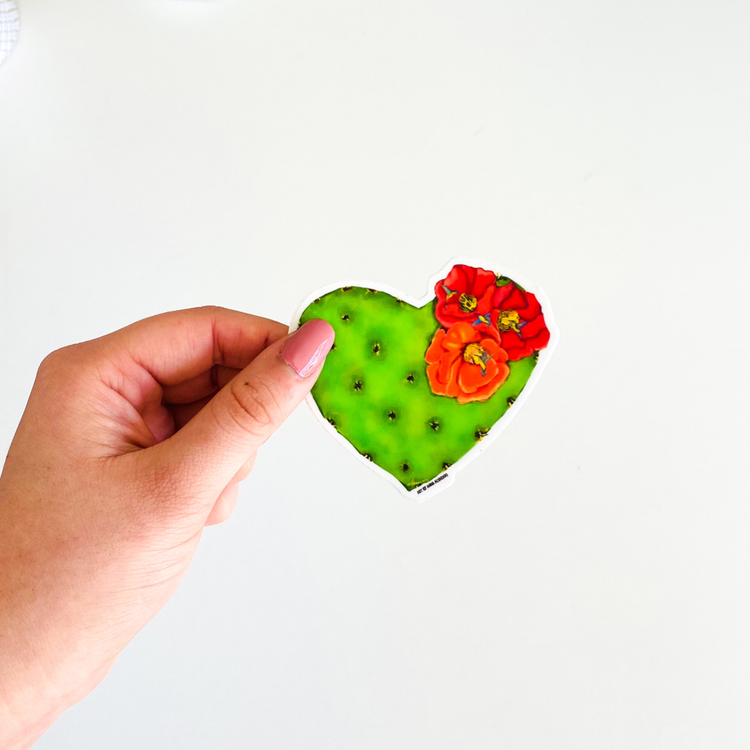 """Hummingbird Cactus Heart"" Sticker"