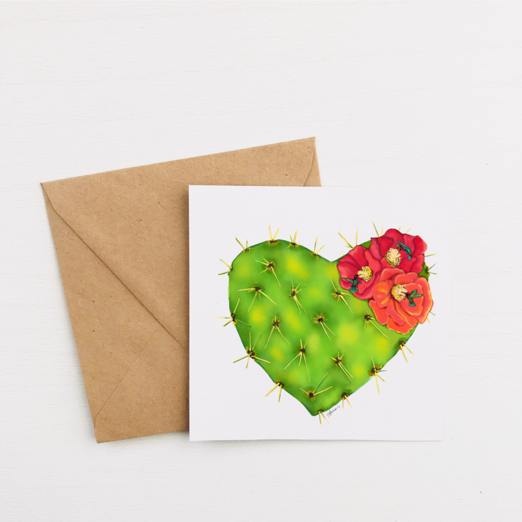 """Hummingbird Cactus Heart"" Greeting Card"