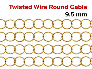 14K Gold Filled Twisted Wire Round Cable Chain, 9.5 mm, (GF-105)