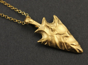 24K Gold Vermeil Over Sterling SIlver Arrow head Charm  -- VM/CH7/CR55 - Beadspoint