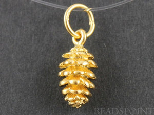 24K Gold Vermeil Over Sterling Silver Pine Charm  -- VM/CH4/CR13 - Beadspoint