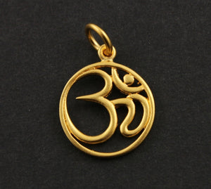 24K Gold Vermeil Sterling Silver OHM Charm -- VM/CH2/CR5 - Beadspoint