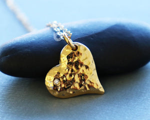 24k Gold Vermeil Over Sterling Silver Hammered Heart Charm w/0.2 Diamonds -- VM/CH8/CR32 - Beadspoint