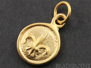 24K Gold Vermeil Over Sterling Silver Fleur De Lis in Circle Charm-- VM/CH5/CR9 - Beadspoint