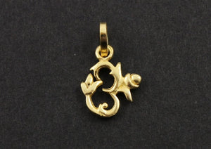 24K Gold Vermeil Over Sterling Silver Fancy OHM Charm -- VM/CH2/CR44 - Beadspoint