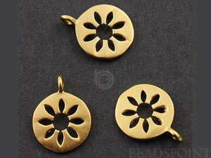 24K Gold Vermeil Over Sterling Silver Flower  Charm-- VM/CH4/CR47 - Beadspoint