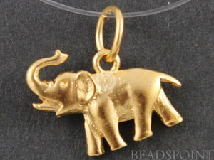 24K Gold Vermeil Over Sterling Silver Elephant Charm-- VM/CH7/CR30 - Beadspoint
