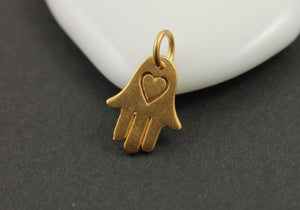 24K Gold Vermeil Over Sterling Silver Hamsa with Heart Pattern Charm-- VM/CH2/CR57 - Beadspoint