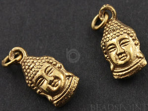 24K Gold Vermeil Over Sterling Silver Buddha Head Charm-- VM/CH2/CR30 - Beadspoint