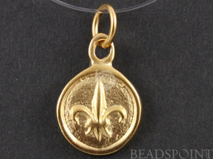 24K Gold Vermeil Over Sterling Silver Fleur De Lis in Circle Charm-- VM/CH5/CR9