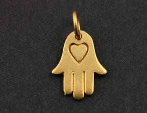 24K Gold Vermeil Over Sterling Silver Hamsa with Heart Pattern Charm-- VM/CH2/CR57