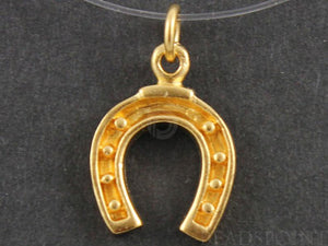 24K Gold Vermeil Over Sterling Horse Shoe Charm  -- VM/CH5/CR19