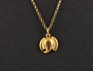 24K Gold Vermeil Over Sterling Silver Elephant Charm-- VM/CH7/CR53