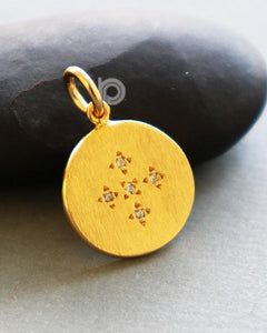 Gold Vermeil Over Sterling Silver Disc Charm with 0.2 Ct Diamonds -- VM/CH11/CR23 - Beadspoint