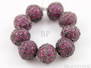 Pave Diamond and Ruby Round Beads -- RB-BA8 - Beadspoint