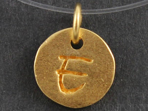 "24K Gold Vermeil Over Sterling Initial ""E"" on a Disc Charm -- VM/2034/E - Beadspoint"