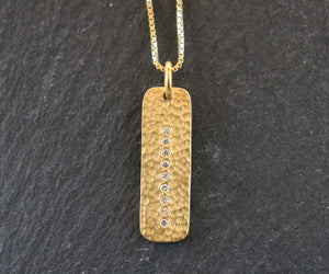24K Gold Vermeil Over Sterling Silver Hammered Bar with white Sapphire Charm  -- VM/CH11/CR38 - Beadspoint