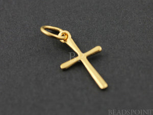 24K Gold Vermeil Over Sterling Silver Cross Charm  -- VM/CH1/CR10 - Beadspoint