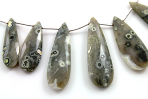 Natural african field jasper faceted pear gemstone drop, 10x31-13x42mm, 1 Full Strand, (JSPF/PR/10x31-13x42) - Beadspoint