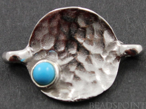 Sterling Silver Round Component with Turquoise Bead,  (SS/679/14x20) - Beadspoint