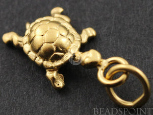 24K Gold Vermeil Over Sterling Silver Lucky Turtle Charm -- VM/CH7/CR28 - Beadspoint