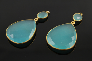 Aqua Chalcedony Earrings Bezel Sold As Pair, (EARR/AQUA/01)