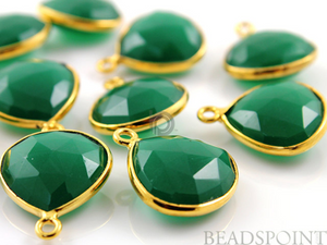 Green Onyx Faceted Heart Bezel, (BZC6077)