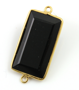 Black Onyx  Faceted Rectangle Connector,-- BZC-9110 - Beadspoint
