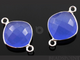 Blue Chalcedony Faceted Cushion Shape Bezel Connector, (SSBZC7514) - Beadspoint