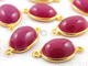 Red Corundum Cabochon Smooth Connector, (BZC7441) - Beadspoint